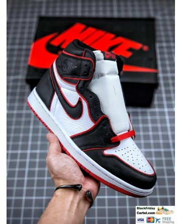 Men's Air Jordan 1 Retro High OG Shoes Black & White & Red