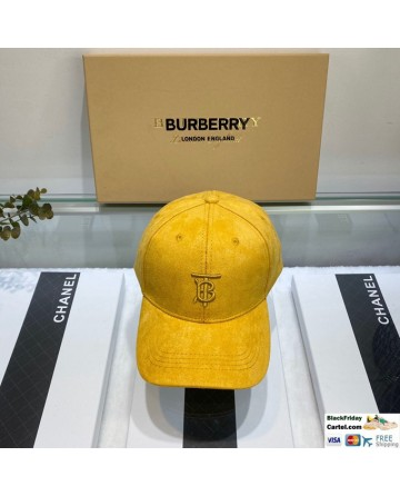 New Arrival Burberry Yellow Velvet Baseball Cap Online