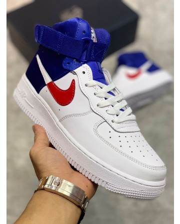 Nike Air Force 1 High Top Shoes White & Blue