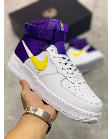 Nike Air Force 1 Sneaker High Shoes White & Purple