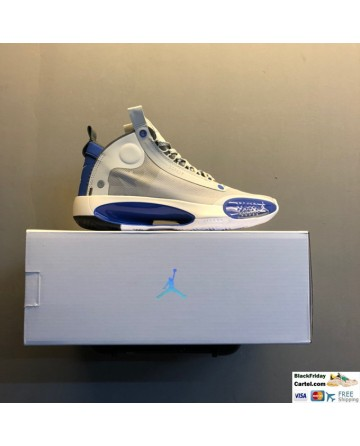 Nike Air Jordan 34 White & Blue Woven Leather Shoes