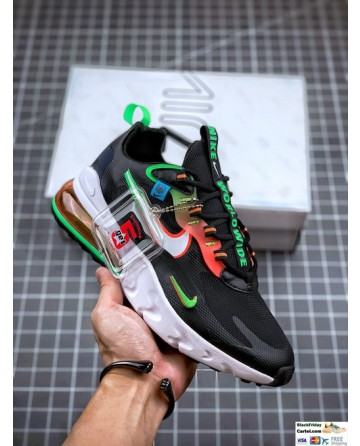 Nike Air Max 270 React Black and Green Sneaker