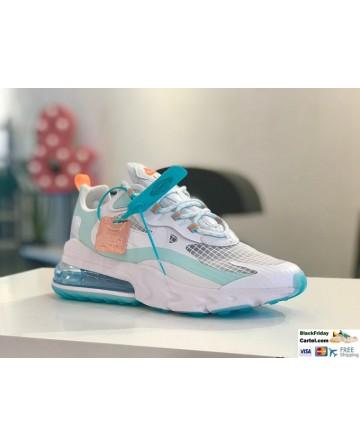 Nike Air Max 270 React SE Oracle Aqua Shoes In White & Blue