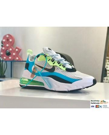 Nike Air Max 270 React SE Oracle Aqua Shoes In White & Blue & Green