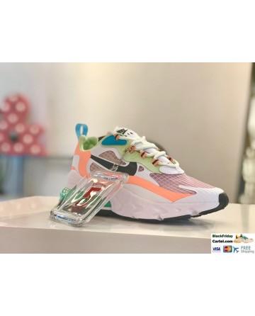 Nike Air Max 270 React SE Oracle Aqua Shoes In White & Green & Orange