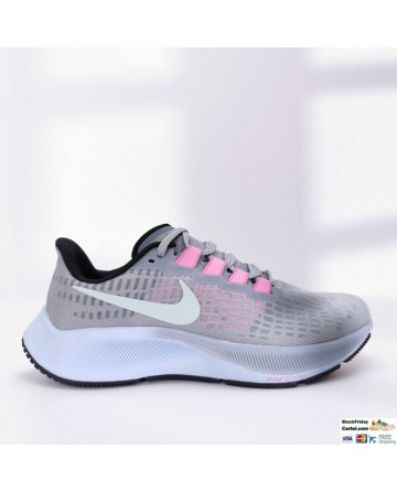 Nike Air Zoom Pegasus 37 Grey & Pink Running Shoes