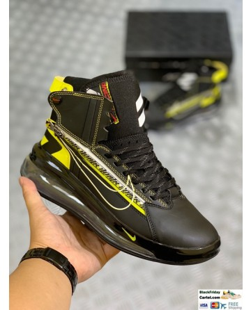 Nike Leather Air Max 720 Saturn Black & Yellow Sneaker Shoes