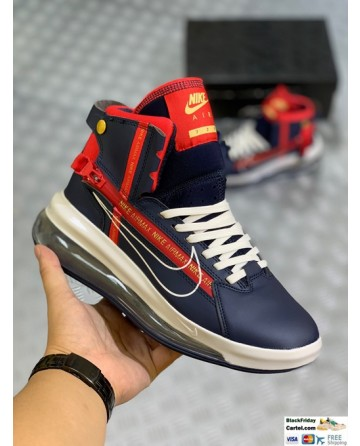 Nike Leather Air Max 720 Saturn Blue & Red Sneaker Shoes