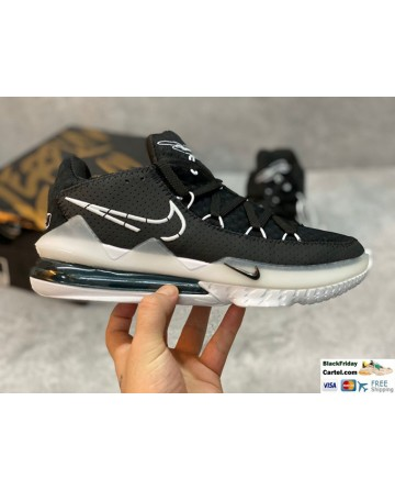 Nike LeBron 17 Low Basketball Shoes In Black & White