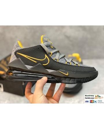 Nike LeBron 17 Low Tune Squad Grey & Black & Yellow Basketball Shoes