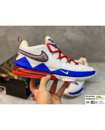 Nike LeBron 17 Low Tune Squad White & Blue & Red Shoes