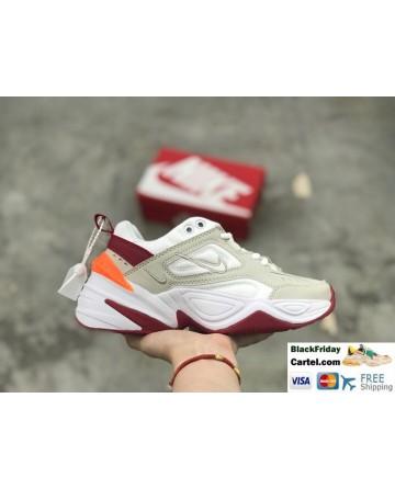 Nike M2K Tekno Double Logo Shoes White & Grey & Red