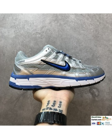 Nike P-6000 Silver & Blue Leather Running Shoes