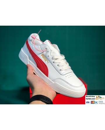 Puma Caracal White & Red Sneaker Shoes