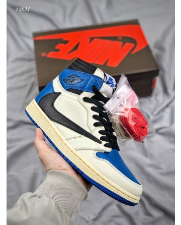 Travis Scott x Fragment x Nike Air Jordan 1 High OG SP Military Blue Basketball Shoes