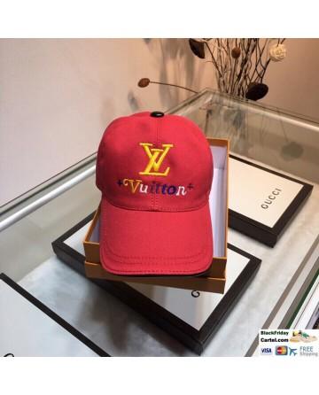 Unisex LV Red Baseball Hat With LV Logo Adjustable