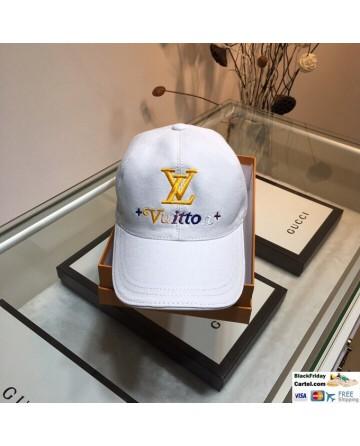 Unisex LV White Baseball Hat With LV Logo Adjustable