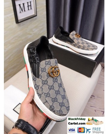 High Quality Gucci 2019 New Classic Men's Gray Peas Shoes