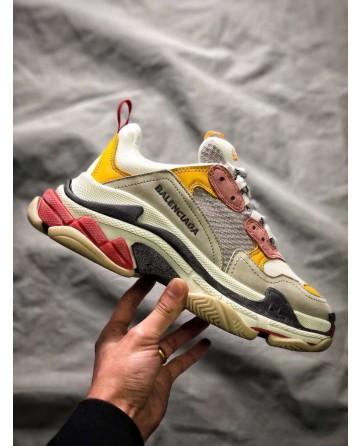 Replica Balenciaga Retro Daddy Pink&Yellow&Grey Running Shoes