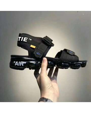 Replica Off White X Nike Air VaporMax Black Sandals With Black Ground