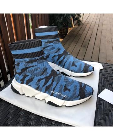 Replica Balenciaga Camo Blue Sock Shoes
